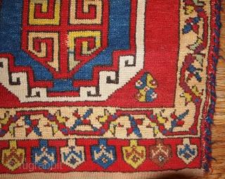 "#1B355 Turkish ""Yastik"" rug 1.11' x 3.2' 1880, in original good condition."