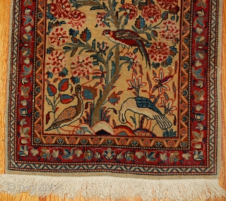 #1B484  Hand made antique Persian Dabir Kashan rug 2,1' x 3,4' ( 64cm x 103cm ) 1890.C