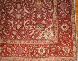 #1B147  Hand made antique Indian Amritsar rug 6.11' x 9.7' ( 216cm x 295cm ) C.1900