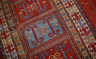 #1B561  Hand made antique Caucasian Kazak rug 4' x 6.9' ( 122cm x 210cm ) 1890.C