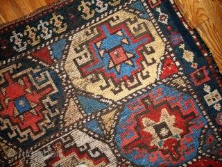 Handmade antique collectible Persian Kurdish rug 3.5' x 4.6' ( 106cm x 140cm ) 1870s - 1B441