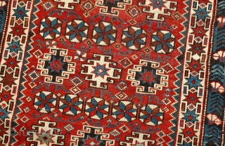 #1B477  Hand made antique Caucasian Chichi rug 4.2' x 5.5' ( 128cm x 167cm ) C.1880