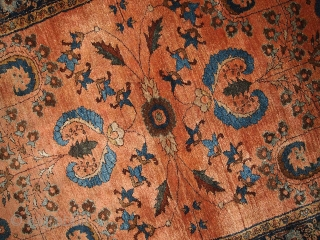 Hand made antique Persian Sarouk Mehajeran rug 3' X 4.10' ( 91cm X 150cm ) C.1910