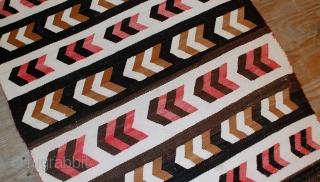 #1B550  Hand made antique Native American Navajo baby blanket rug 3' x 3.11' ( 91cm x 120cm)