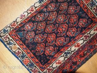 Handmade antique collectible Persian Malayer bag face 1.2' x 1.5' ( 37cm x 46cm ) 1900s - 1C361