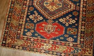 #1B478  Hand made antique Caucasian Karakachli rug 4.11' x 5.9' ( 152cm x 180cm ) C.1870