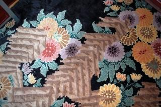 #1B410  Hand made antique Art Deco Chinese rug 7.10' x 10.10' ( 242cm x 301cm ) 1920.C