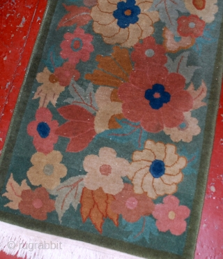 #1B540  Hand made antique Art Deco Chinese rug 2.1' x 3.9' ( 64cm x 119cm ) 1920.C