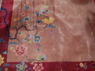 Handmade antique art deco Chinese rug 6.1' x 16.10' ( 186cm x 517cm) 1930s - 1B468