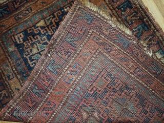 Handmade antique Persian Kurdish rug 2.1' x 2.9' ( 66cm x 90cm ) 1900s - 1C367