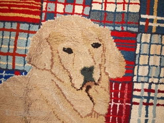 #1B50  Hand made vintage American hooked rug 9.10' x 12' ( 303cm x 365cm ) 1960.C