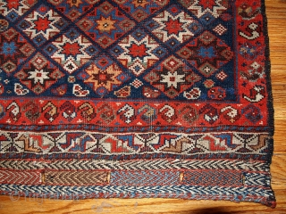 #1B316  Hand made antique collectible Persian Khamseh bag face 1.10' x 2' ( 57cm x 61cm ) C.1880