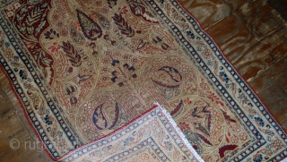 #1B524  Hand made antique prayer Persian Kerman Lavar rug 2.10' x 4.8' ( 90cm x 146cm) 1880.C
