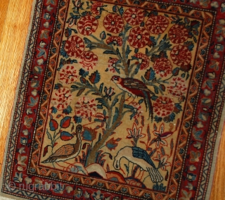 Hand made antique Persian Dabir Kashan rug 2,1' x 3,4' ( 64cm x 103cm ) 1890 - 1B484