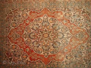 #1B154  Hand made antique Persian Tabriz rug 4.2' x 5.9' ( 128cm x 179cm ) 1920.C