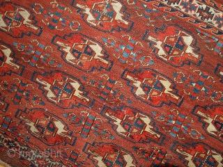 #1B320  Hand made antique collectible Turkoman Yomud rug 2.11' x 4.3' ( 94cm x 131cm) 1880.C