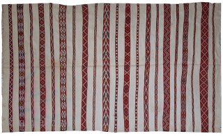 #1C214  Hand made antique Moroccan kilim 5.2' x 8.5' ( 159cm x 261cm ) 1950.C