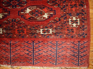 #1B337  Handmade antique collectible Turkoman Yomud rug 2.10' x 4.4' ( 89cm x 134cm ) C.1880