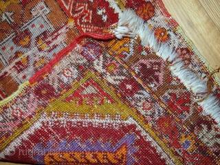 #1C371  Hand made Turkish Yastik rug 1.4' x 2.8' ( 44cm x 86cm ) C.1920