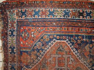 #1C523  Handmade antique Persian Shiraz rug 3.8' x 5' ( 115cm x 153cm ) 1910.C