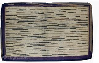 Handmade antique American hooked rug 3.1' x 5.2' ( 94cm x 158cm ) 1900s - 1B502