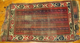 Turkoman-looking Balouch rug 2'x 4'; c. 1890; in original condition.