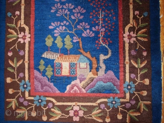 #1B375  Hand made antique Art Deco Chinese rug 3' x 4.10' ( 91cm x 150cm ) 1920