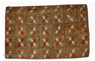 Handmade antique American hooked rug 3.1' x 5.3' (94cm x 161cm) 1880s - 1B503