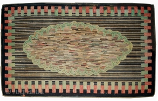 Handmade antique American hooked rug 4.9' x 7.6' ( 149cm x 231cm ) 1880s - 1B511