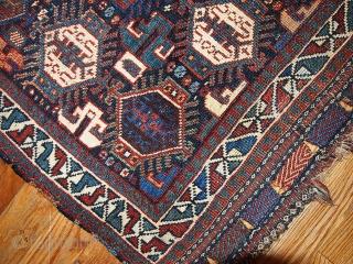#1B318  Hand made antique collectible Persian Khamseh bag face 1.9' x 1.11' ( 58cm x 67cm ) C.1880