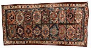 #1B493 Hand made antique Caucasian Kazak Mohan rug 3.9' x 7.8' ( 119cm x 237cm ) C.1880
