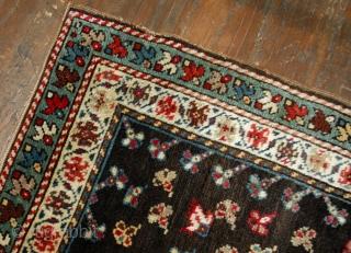 Handmade antique Caucasian Gendje rug 1.9' x 3.3' (58cm x 100cm) 1880s - 1B518
