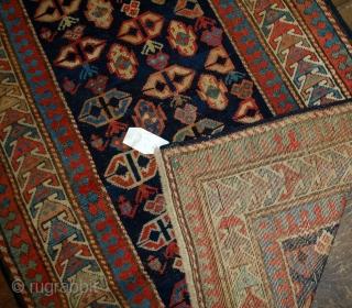 Handmade antique Caucasian Gendje rug 3.5' x 7.3' (106cm x 222cm) 1880s - 1B519