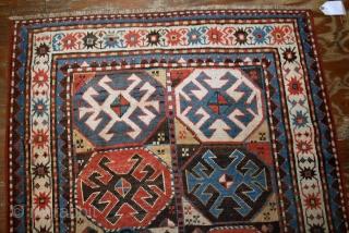 Hand made antique Caucasian Kazak Mohan rug 3.8' x 8.2' ( 116cm x 250cm ) 1880 - 1B521