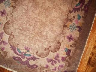 #1B379  Hand made antique Art Deco Chinese rug 2.6' x 4.5' ( 79cm x 137cm ) 1920