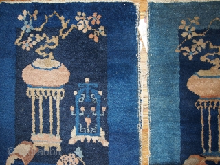 #1B327  Hand made antique collectible pair of Peking Chinese rugs 1.7' x 1.10' ( 51cm x 59cm ) 1920.C