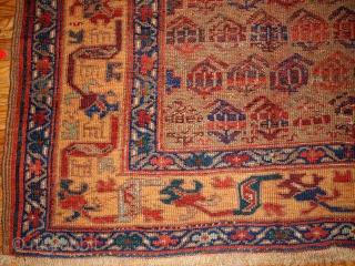 #1B413  Hand made antique Persian Kurdish rug 4.1' x 7.6' ( 125cm x 231cm ) 1880.C
