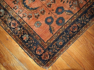 #1V01  Hand made antique Persian Sarouk Mehajeran rug 3' x 4.10' ( 91cm x 150cm ) 1910.C