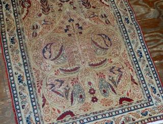 Handmade antique prayer Persian Kerman Lavar rug 2.10' x 4.8' ( 90cm x 146cm) 1880s - 1B524