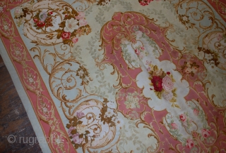 Handmade antique French Aubusson Napoleon the 3rd 4.6' x 6.6' ( 140cm x 201cm ) 1860s - 1B526