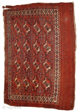 #1B320  Hand made antique collectible Turkoman Yomud rug 2.11' x 4.3' ( 94cm x 131cm) 1880