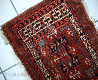 #1C06  Hand made antique collectible Turkoman Yomud rug 1.3' x 3' ( 39cm x 91cm ) 1880