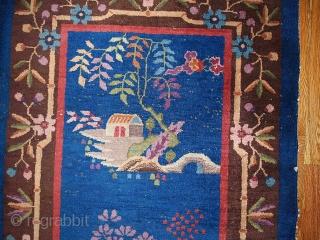 #1B375  Hand made antique Art Deco Chinese rug 3' x 4.10' ( 91cm x 150cm ) 1920.C