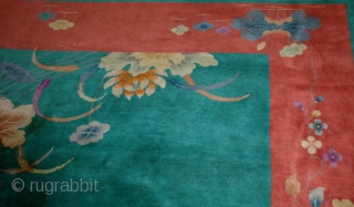 #1B462  Hand made antique art deco Chinese rug 8.10' x 11.6' ( 273cm x 353cm) 1920.C