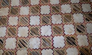 Handmade antique American hooked rug 5.10' x 7.9' (180cm x 241cm) 1880s - 1B538