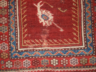 "#1B171 Turkish Prayer ""Melas"" rug 3.10' x 5.5' 1860, in original good condition: has some old restoration"
