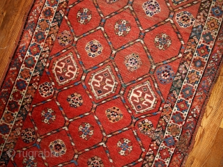 #1B444  Hand made antique Persian Kurdish runner 3.2' x 12.2' ( 97cm x 371cm ) C.1900