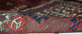 #1C09  Handmade antique collectible Turkmen Yomud rug 1.2' x 3.2' ( 36cm x 97cm ) 1880.C