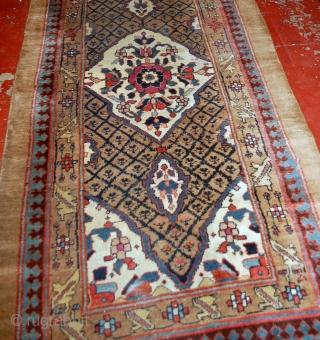 Handmade antique Persian Camel Hair runner 4' x 15.2' (122cm x 463cm) 1880s - 1B556