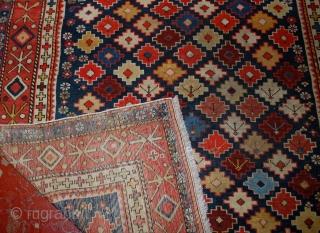 Handmade antique Caucasian Shirvan rug 4' x 5.5' (122cm x 167cm) 1910s - 1B559